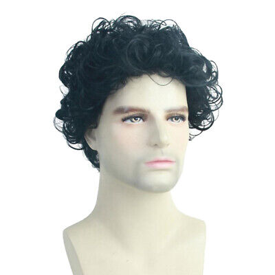 Afro Kinky Short Curly Hair Wigs for Men Fluffy Wavy Black Synthetic Wigs - Wigs For Black Men Curly