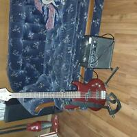 NRG 4 string bass guitar + amp
