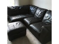 DFS Italian Leather Sofa and chair/poof