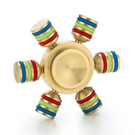 6 Sided Metal Fidget Gold Limited addition Fidget Spinner + Case