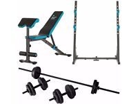 SQUAT RACK + WORKOUT BENCH + BARBELL DUMBELL SET - Mens Health Home Multi Gym Multigym Weights