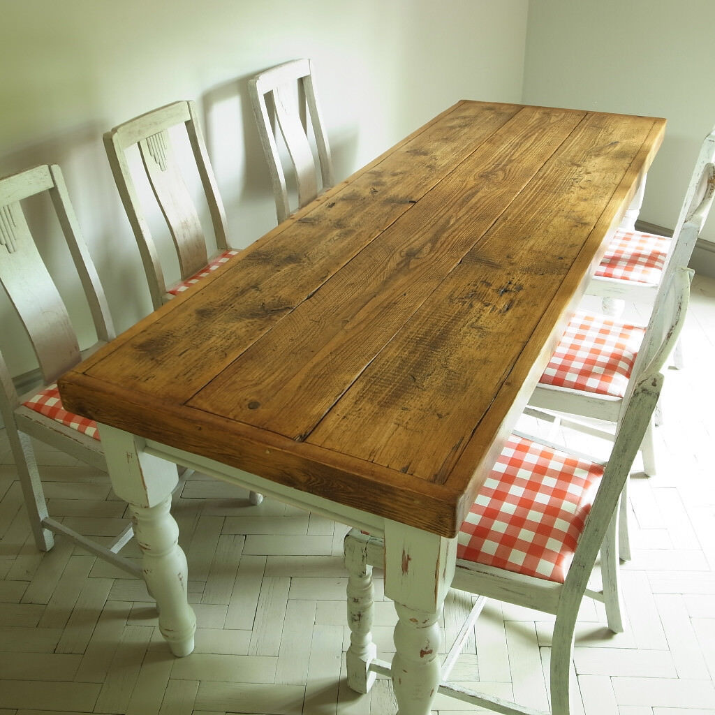 Shabby Chic Kitchen Table: Vintage French Country Pine Farmhouse Dining Table & 6