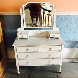 Vintage painted distressed mirrored Chest of draws draws