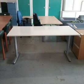 Straight off-white Ikea desk