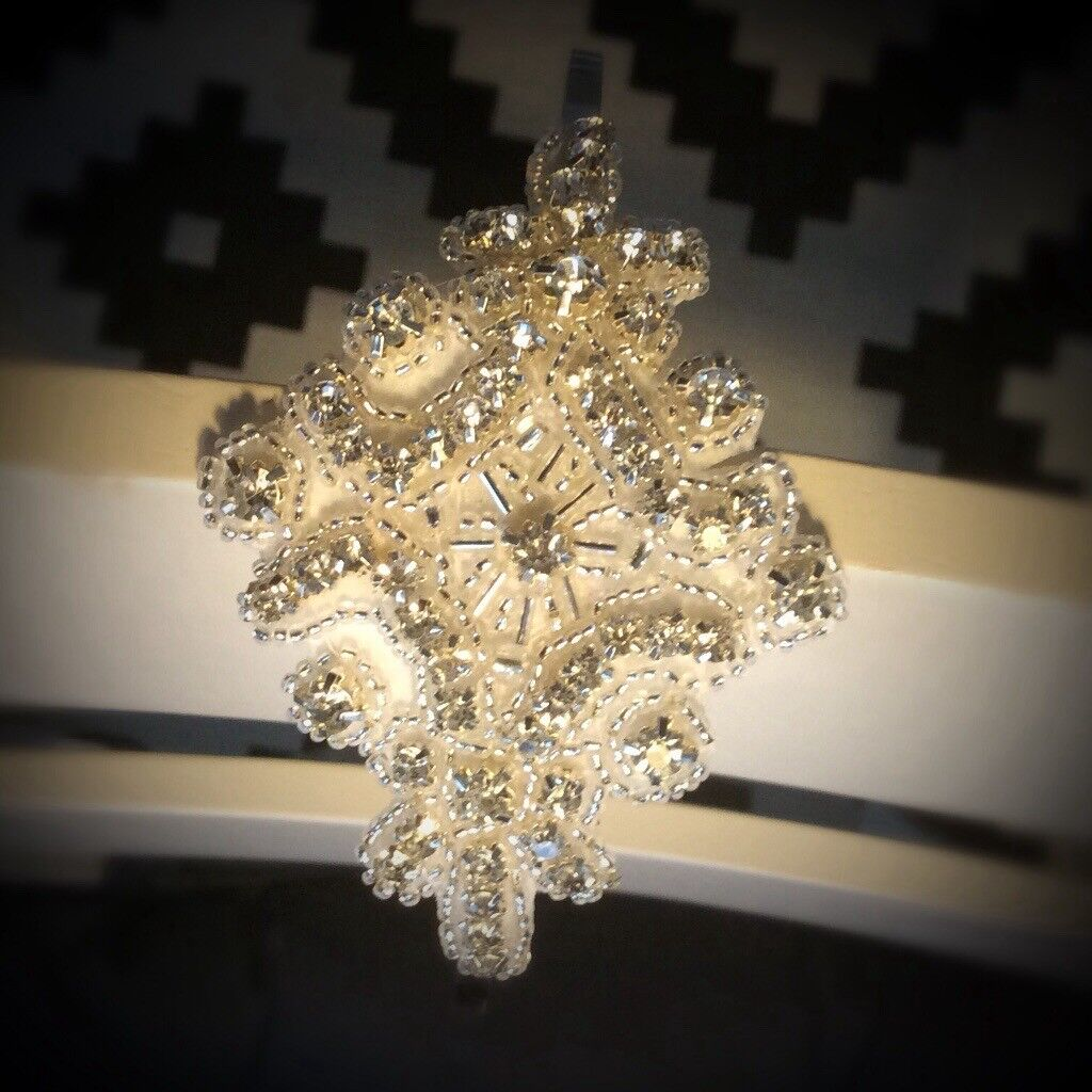 Vintage 1920s Gatsby Style Diamond shaped Silver Crystal
