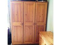 Extra large, substantial solid pine 3 door wardrobe 180cmH x 140cmW x 55cmD.