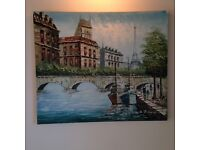 Oil on Canvas Paris Scene Painting - CLEARANCE