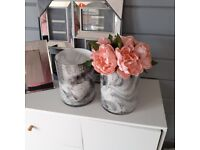 LOVELY MIRRORED FRAME , SMALL MIRRORED FRAME , AND 2 GLASS MARBLE VASES