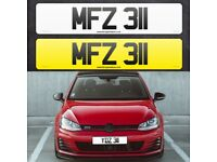 MFZ 311 - Short 3 digit NI Number Plate- Cherished Personal Private Registration plates