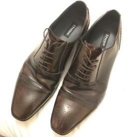 Dune Dark Brown Leather Oxford Men's Smart Formal Shoes