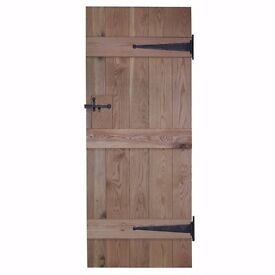"Door 444 - Solid Oak Retail Rustic Internal Door - V Groove - 2'9"" x 6'6"""