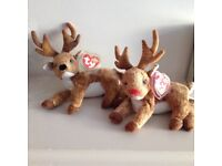 Two TY beanie babies reindeers with tags