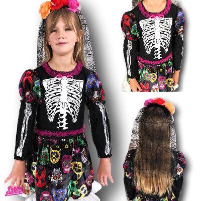 Mädchen Tag der Toten Zuckerschädel Kostüm Kinder Skelett Halloween (Tote Alice Im Wunderland Kostüm)