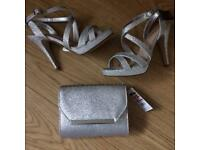 Silver Sandals & Matching Bag Nwt