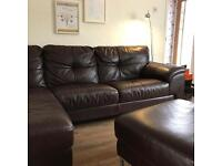 DFS Ainsley leather sofa - Conker brown