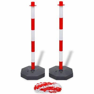 vidaXL 2x Postes de Delimitación Cadena Plástico Rojo Blanco 10 m Señalización