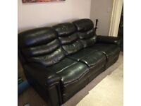 Black leather Sofa and two matching recliners - £900 for all