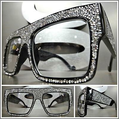 OVERSIZED VINTAGE RETRO Style Clear Lens EYE GLASSES Square Black Bling Frame