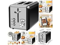 Toaster 2 Slice Wide Slot, 6 Browning Settings, Polished Stainless Steel Housing Not Hot Toaster