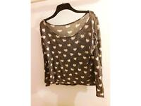 Grey off the shoulder top size 10