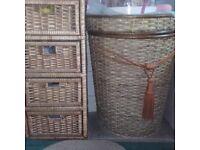 Wicker Laundry Basket and 4 tier Wicker Drawers