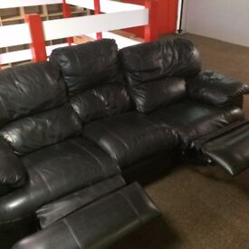 BLACK 3+2 LEATHER RECLINER SOFAS - MUST GO ASAP - CHEAP DELIVERY LONDON POSTCODES ONLY - £325