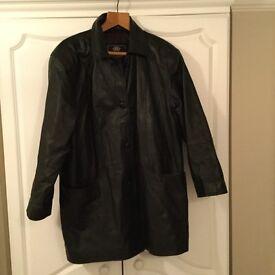 Vintage black ladies leather coat
