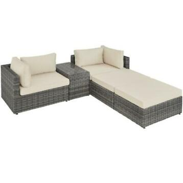 tectake - wicker tuinset San Domino - grijs - 403169
