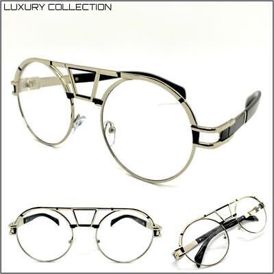 Herren Klassisch Elegant Retro Stil Klar Gläser Brillen Rund Silber Mode Rahmen