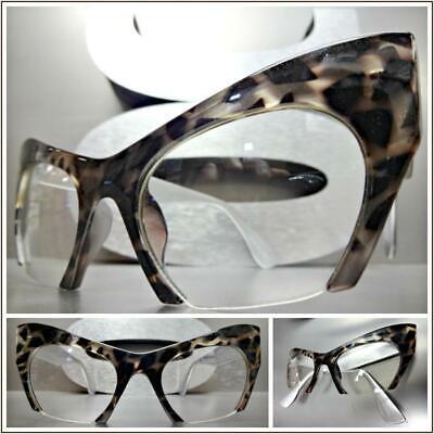 Classy Elegant Exotic Retro Cat Eye Style Clear Lens EYE GLASSES Leopard (Leopard Frame Glasses)