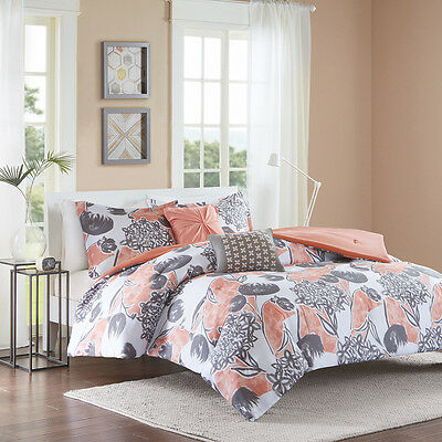 BEAUTIFUL MODERN CONTEMPORARY CHIC CORAL PINK GREY BEACH OCEAN COMFORTER SET
