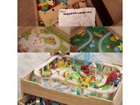 Reversible wooden train set