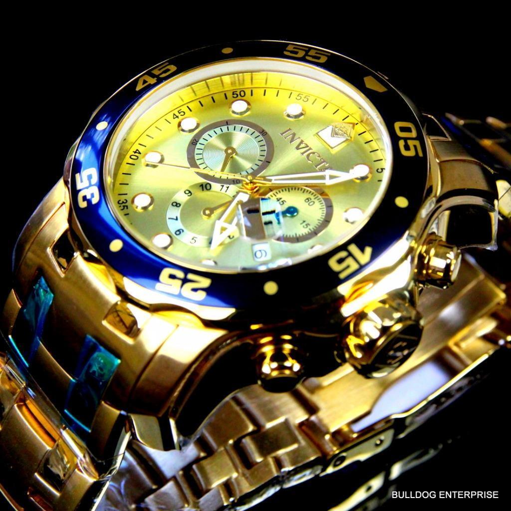 Mens Invicta Pro Diver Scuba 18kt Gold Plated Steel Chronograph Watch New