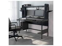 IKEA Fredde workstation desk (185x146x74 cm / black) delivered + assembled in or near Dundee