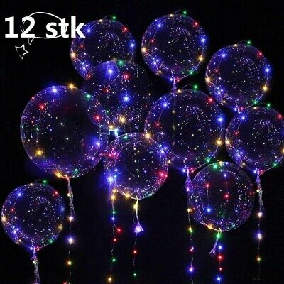 12X LED Helium Balloon Leucht Luftballon Geburtstag Hochzeit Weihnachten