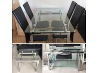 Matching Glass and Mirror Metal Dining Table with 6 chairs, TV Stand and Coffee Table