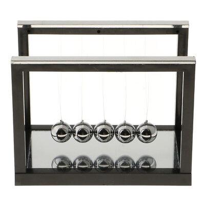 Pendulum Balance Ball Newton Cradle With Mirror Desktop Toys Game Black - S