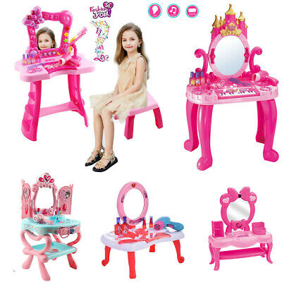 Toddler Kid Pretend Play Vanity Mirror Table Chair Cosmetic Makeup Toy for -