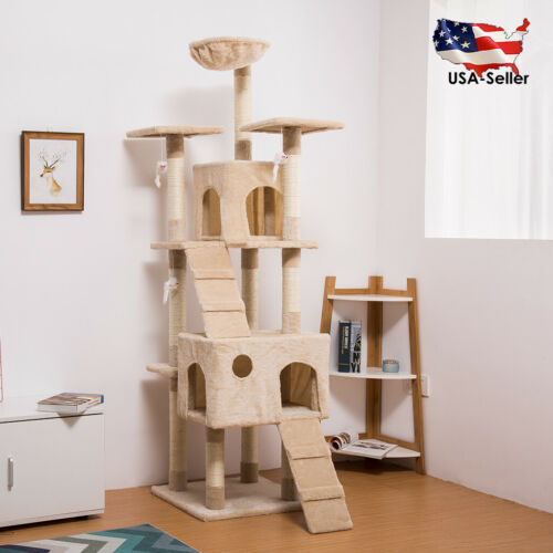 68inch Cat Tree Tower 2 Condo Furniture 10 Scratching Posts