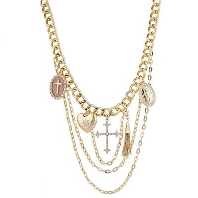 Lux Accessories Gold Tone Religious Cross Crystal Rhinestone Layered Necklace