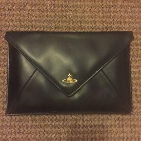 Vivienne Westwood Black Lambskin Envelope Clutch