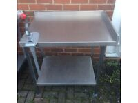 Stainless Steel Table with Commercial Tin Opener 120cmx 63cm x 84cm Excellent Condition