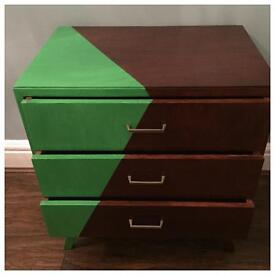 Small retro part painted chest of drawers, cupboard, sideboard, table