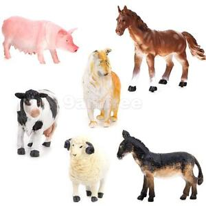 6 Plastic Action Figure Farm Animals Kids Toy Pig Dog Cow Sheep Horse Donkey