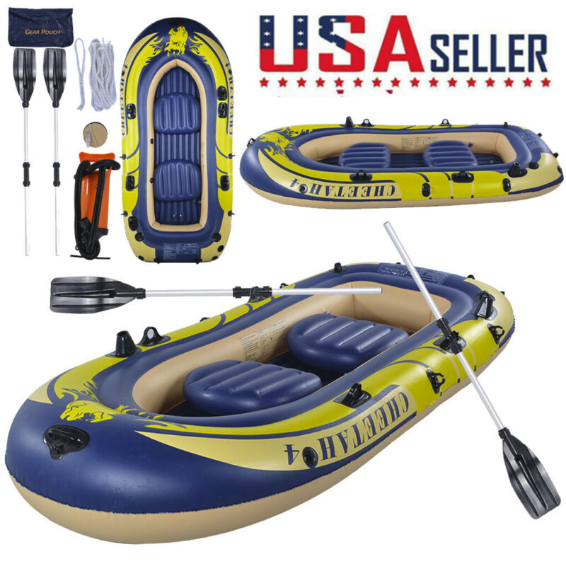 3-4 Person Inflatable Boat Raft Kayak Set Fit Fishing Drifti