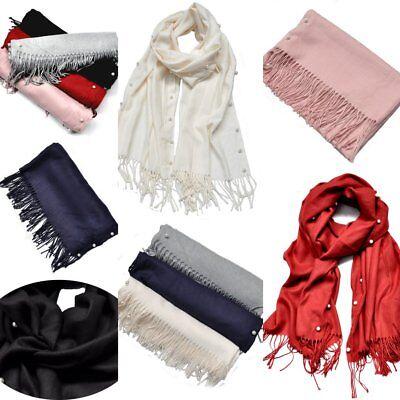 Winter-schal Mit Fransen (XXL Wool Uni Winterschal Damen Schal Halstuch Tuch Langschal Fransen mit  Perlen)
