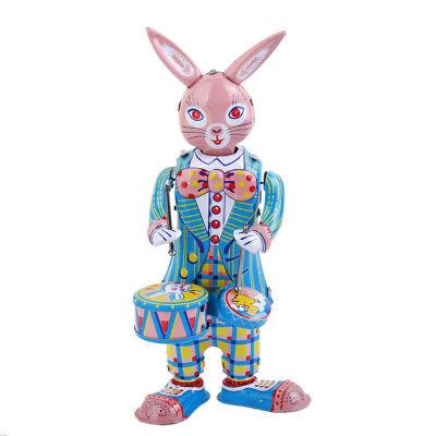 Retro Clockwork Tin Toy Ribbit Bunny Drummer Wind Up Metal Toys Collectible