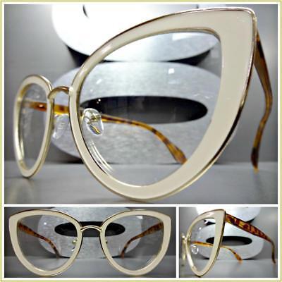 CLASSIC VINTAGE 60's RETRO CAT EYE Style Clear Lens EYE GLASSES Cream Gold Frame