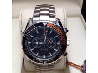 New Mens boxed silver bracelet with black face silver casing omega seamaster 600 with chronograph