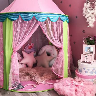 Children Kids Pink Teepee Castle Play Tent Playhouse Indoor Outdoor Garden Girl